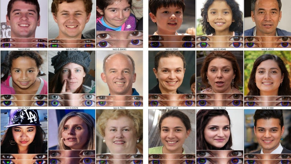 Deepfake portraits with cornea analysis results underneath