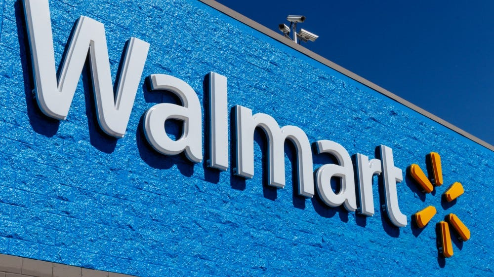 Walmart retail location logo on front of building