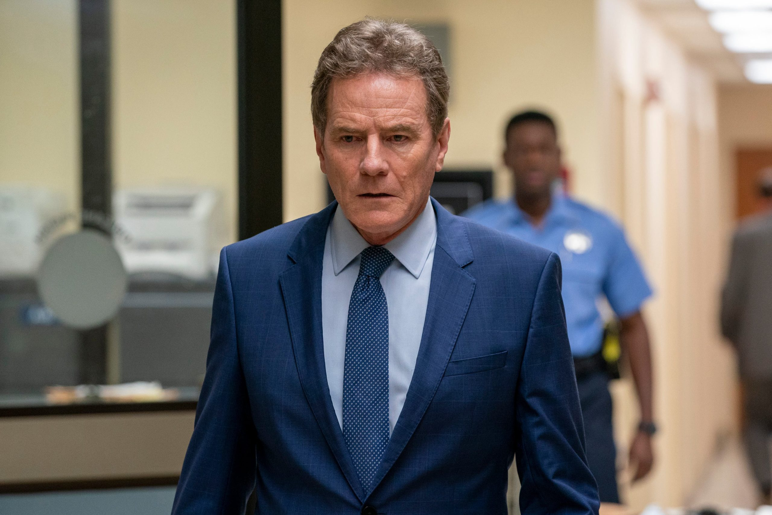 <p>Desiato (Cranston) wrestles with his conscience about covering up the accident</p>