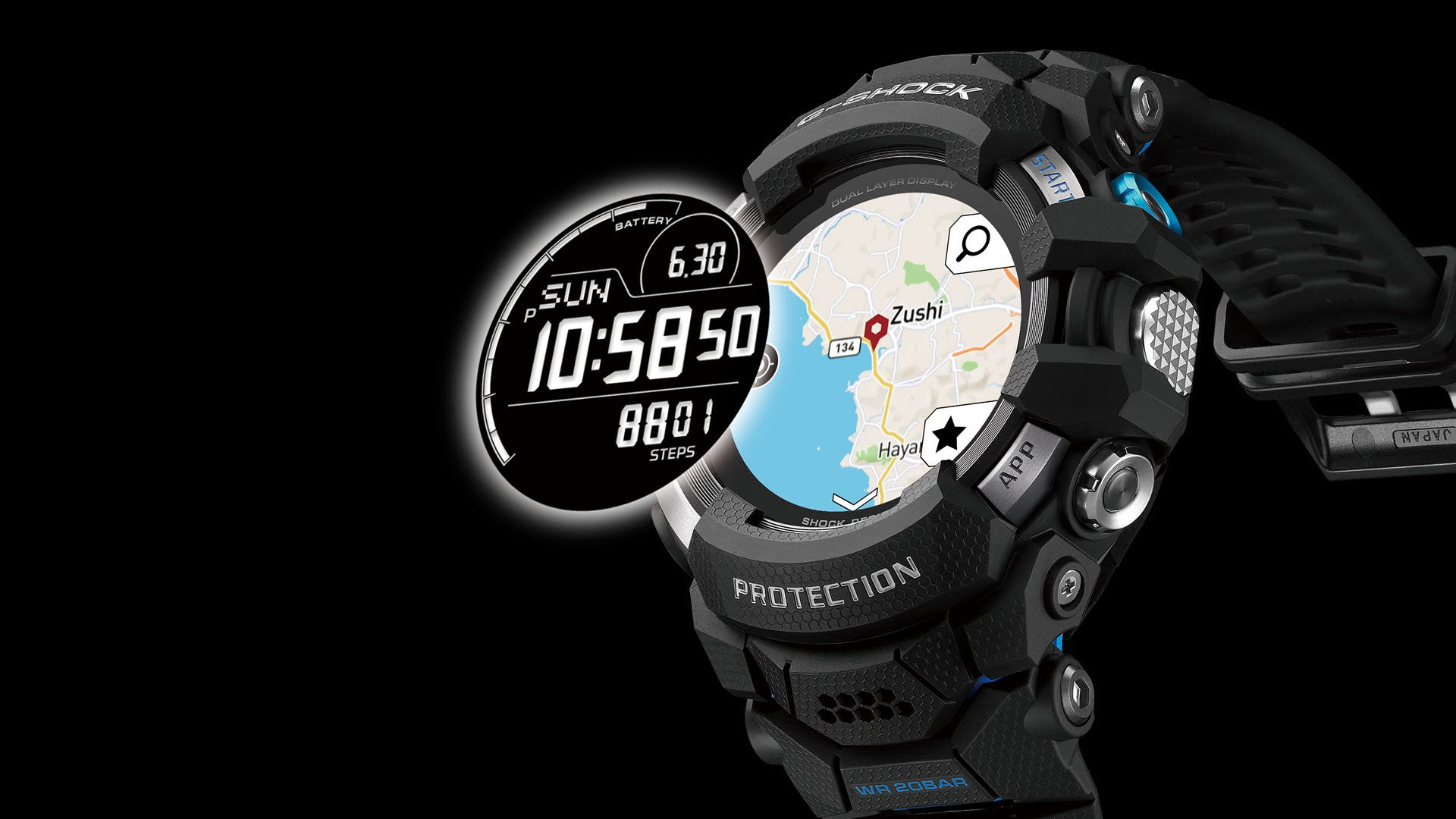 A Casio Wear OS G-Shock watch with various watch faces.