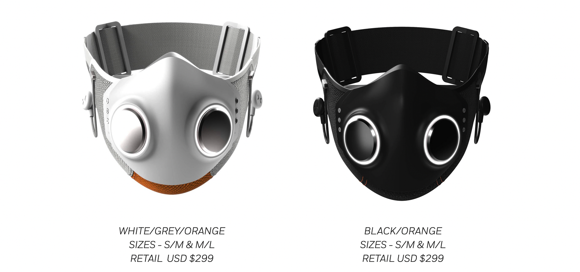 Photos of the Xupermask in white and black.