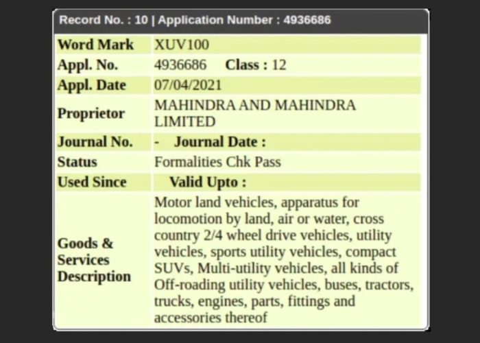 Mahindra XUV100 trademark filed