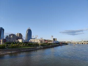 A closer view of Cincinnati over the river