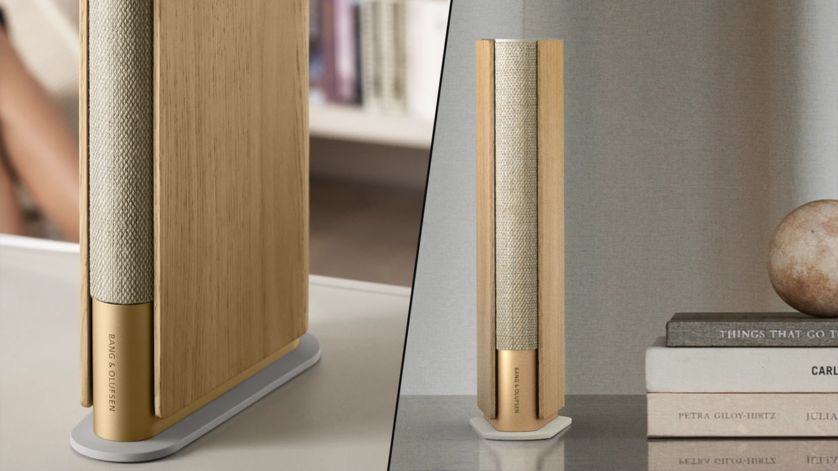 Bang & Olufsen Beosound Emerge book-shaped speaker on a table