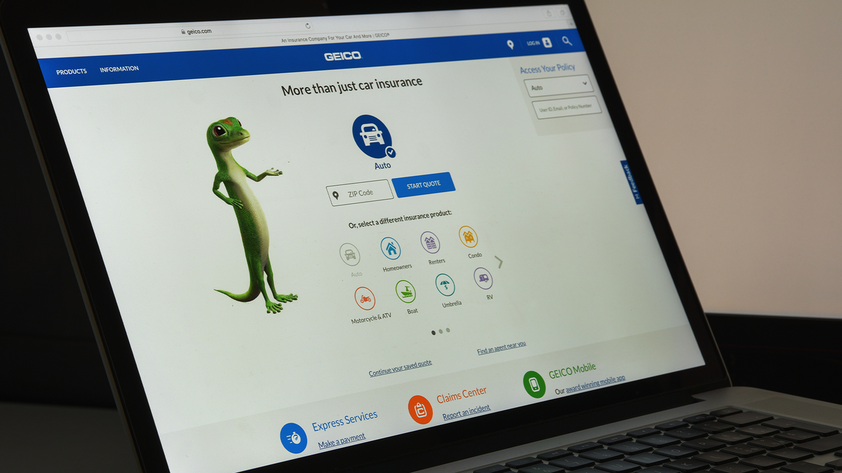 A laptop on the Geico website.