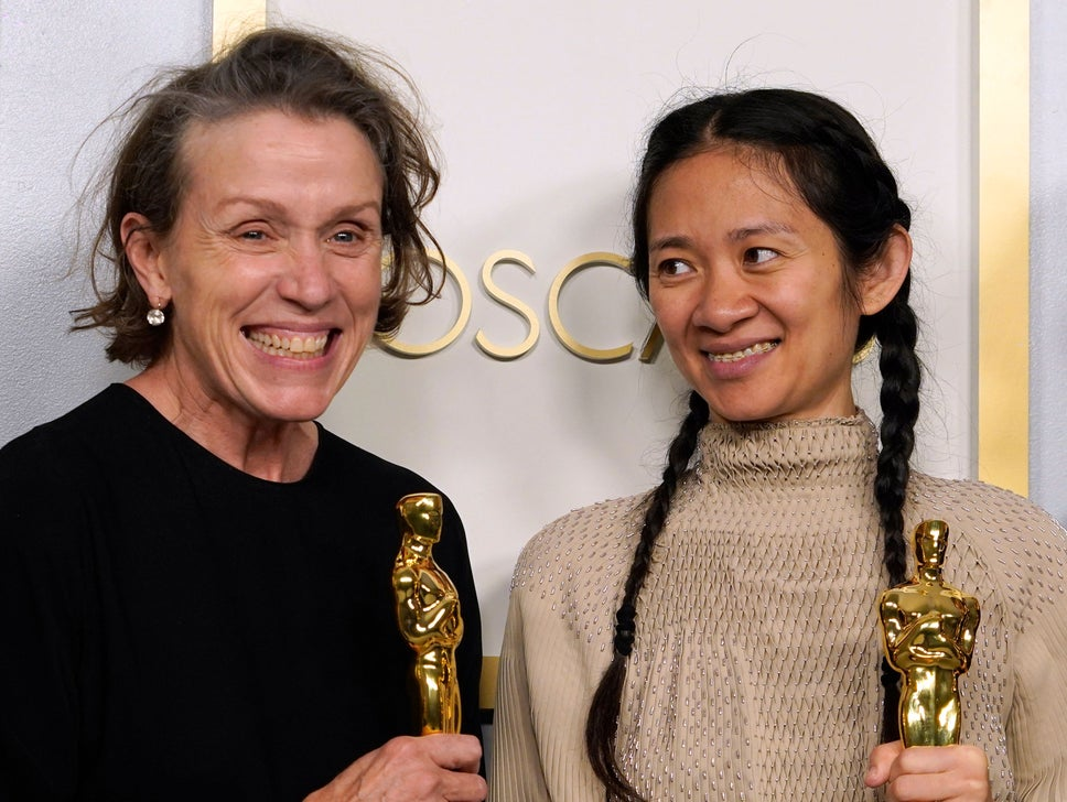 "Producers Frances McDormand and and Chloe Zhao, winners of the award for best picture for ""Nomadland"" pose in the press room at the Oscars"