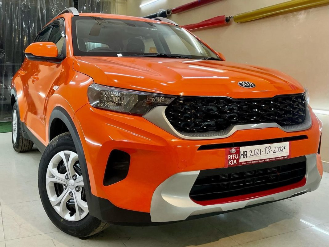 Kia Sonet modified gloss orange wrapaholix 1