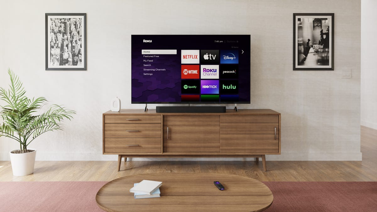 Roku Streambar Pro next to a TV