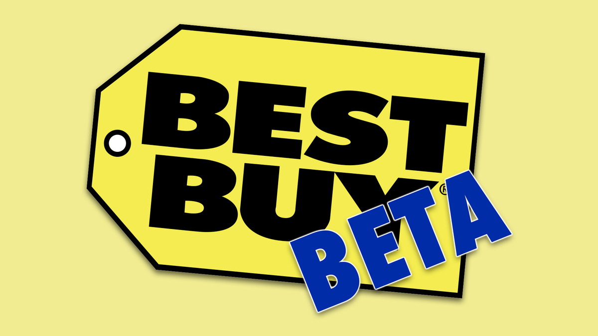 "The Best Buy logo with the word ""Beta"" over it."