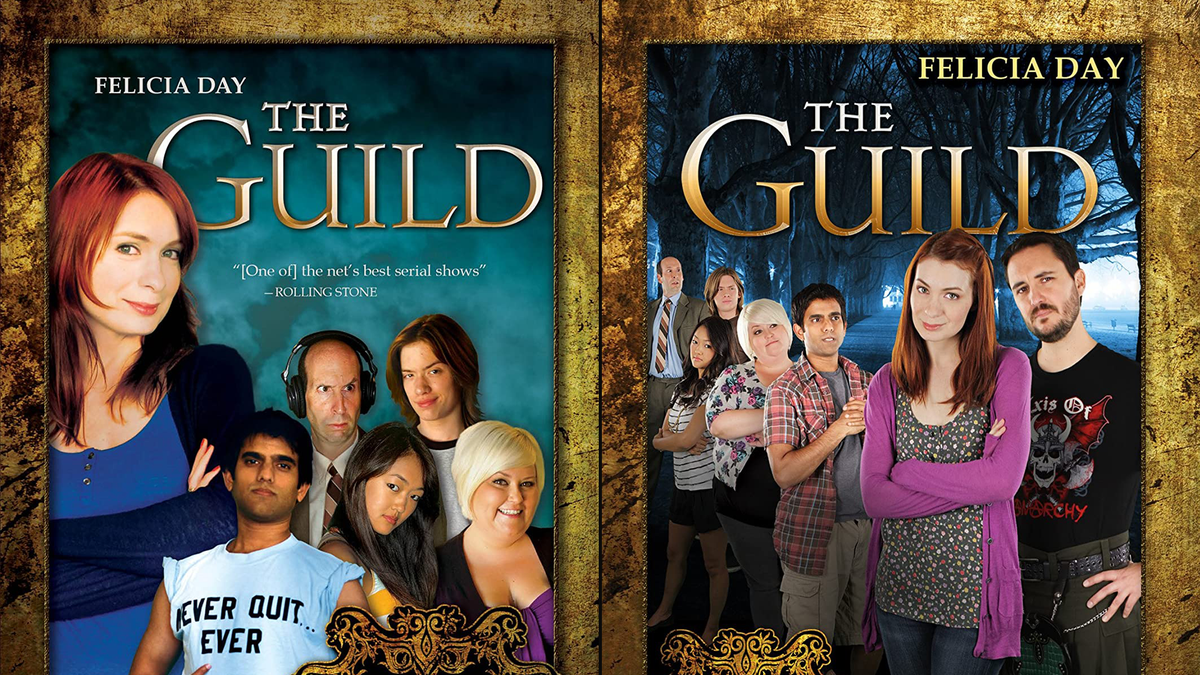 "DVD covers for seasons 1-3 of ""The Guild"" featuring the cast"