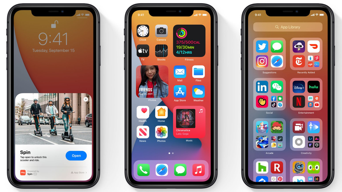 Newer iPhones displaying iOS 14