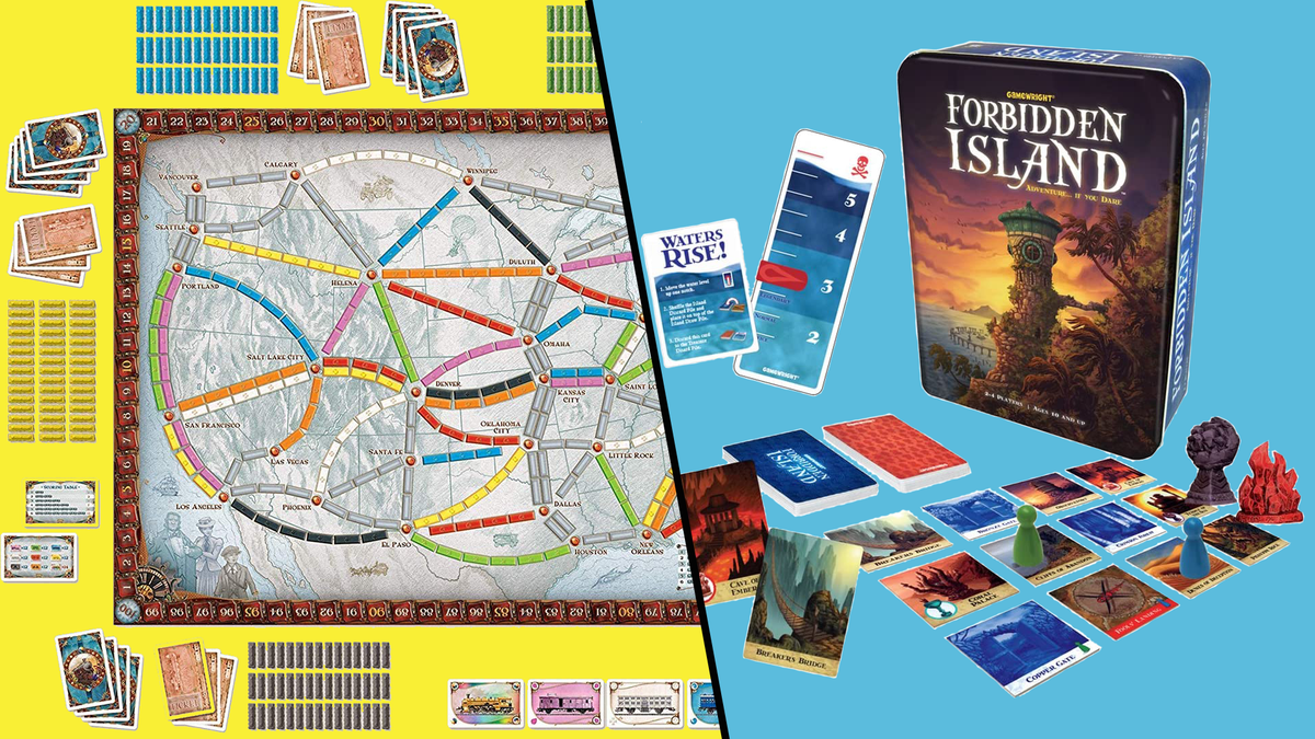View of Ticket to Ride game and Forbidden Island game