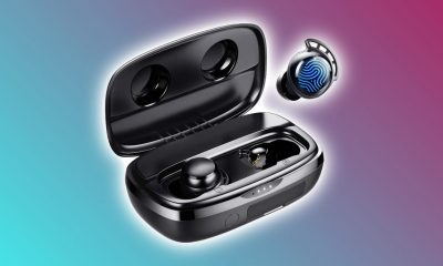 Tribit Flybuds 3 earbuds against multi-colored backdrop
