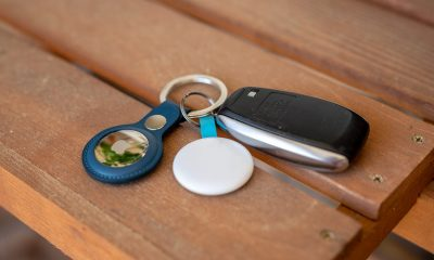 Apple AirTag Key Ring attached to car keys