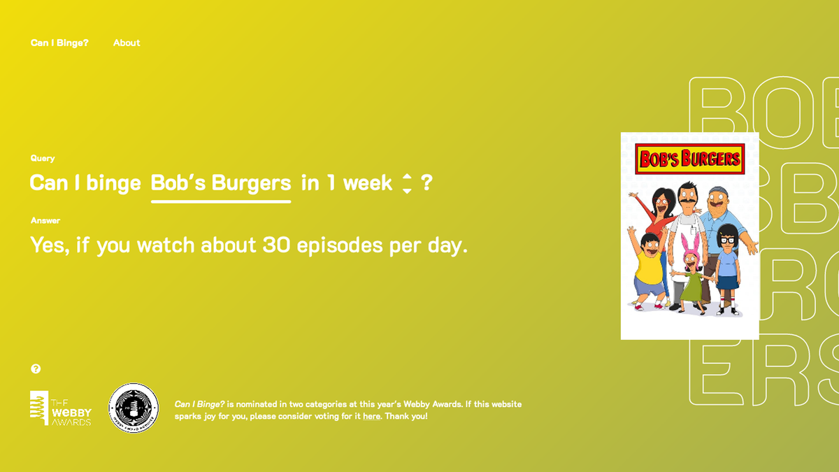 """Can I Binge?"" Tells You How Long It'll Take to Rush through a TV Show"
