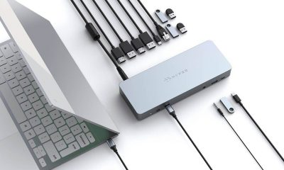 The HuyperDrive 14 docking station connected to a Pixelbook on a white background