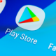 Google Play Store application icon on Samsung smartphone
