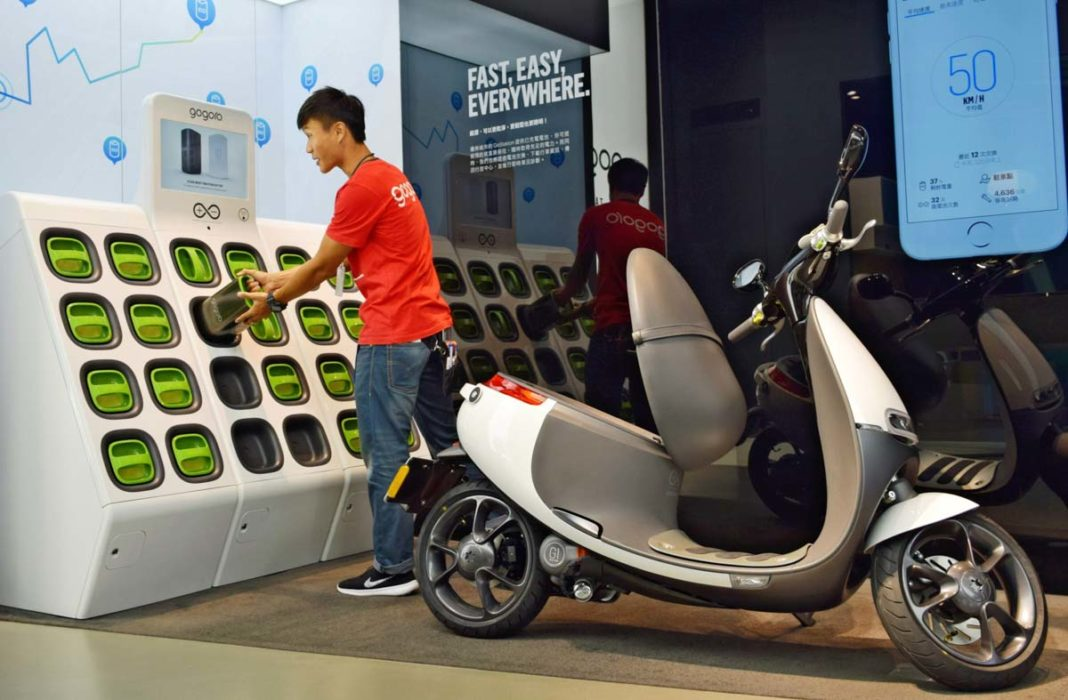 Gogoro-scooter-and-battery-swapping-station