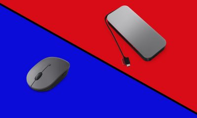 A Lenovo Go mouse next to a Lenovo Go power bank