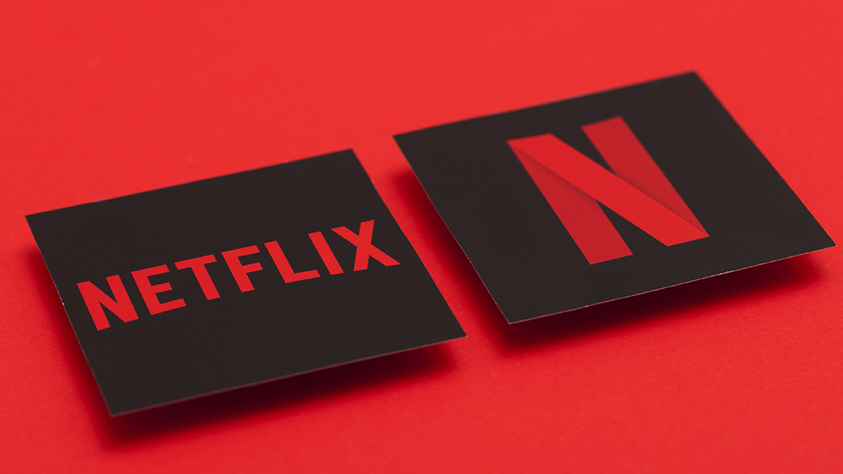 The Netflix logo over a red background.