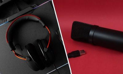 Gaming headset on desk and a Microphone against red backdrop in a collage.
