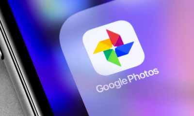 Google Photos application icon on smartphone screen closeup