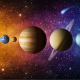 Solar system planet, comet, sun and star. Elements of this image furnished by NASA. Sun, Mercury, Venus, Earth, Mars, Jupiter, Saturn, Uranus, Neptune.