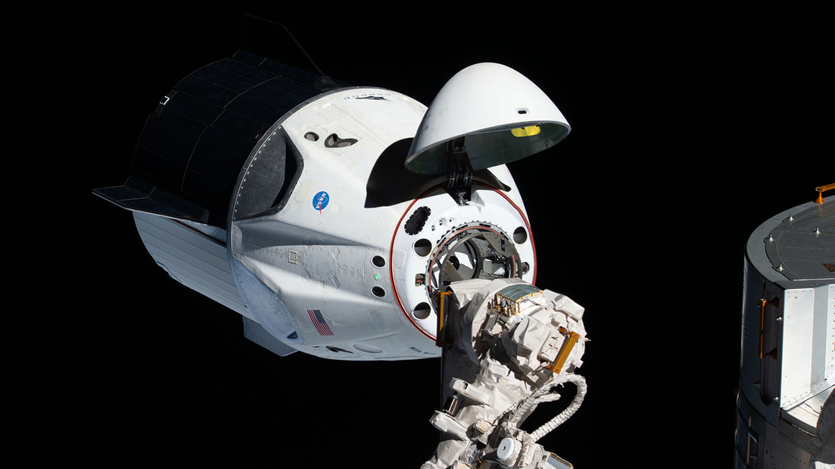 A photo of the SpaceX Dragon capsule.