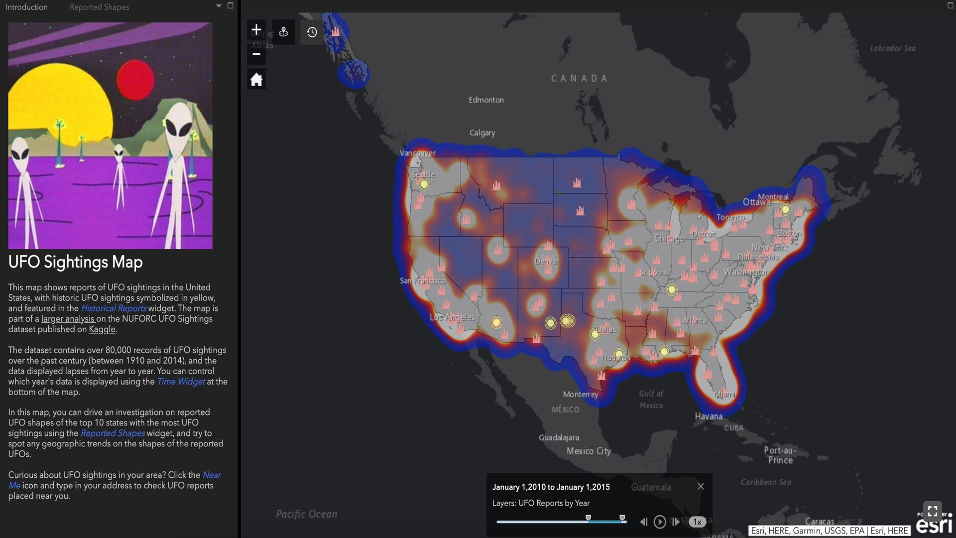 UFO sightings on an interactive map