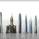 Graphic of the world's tallest towers next to each other