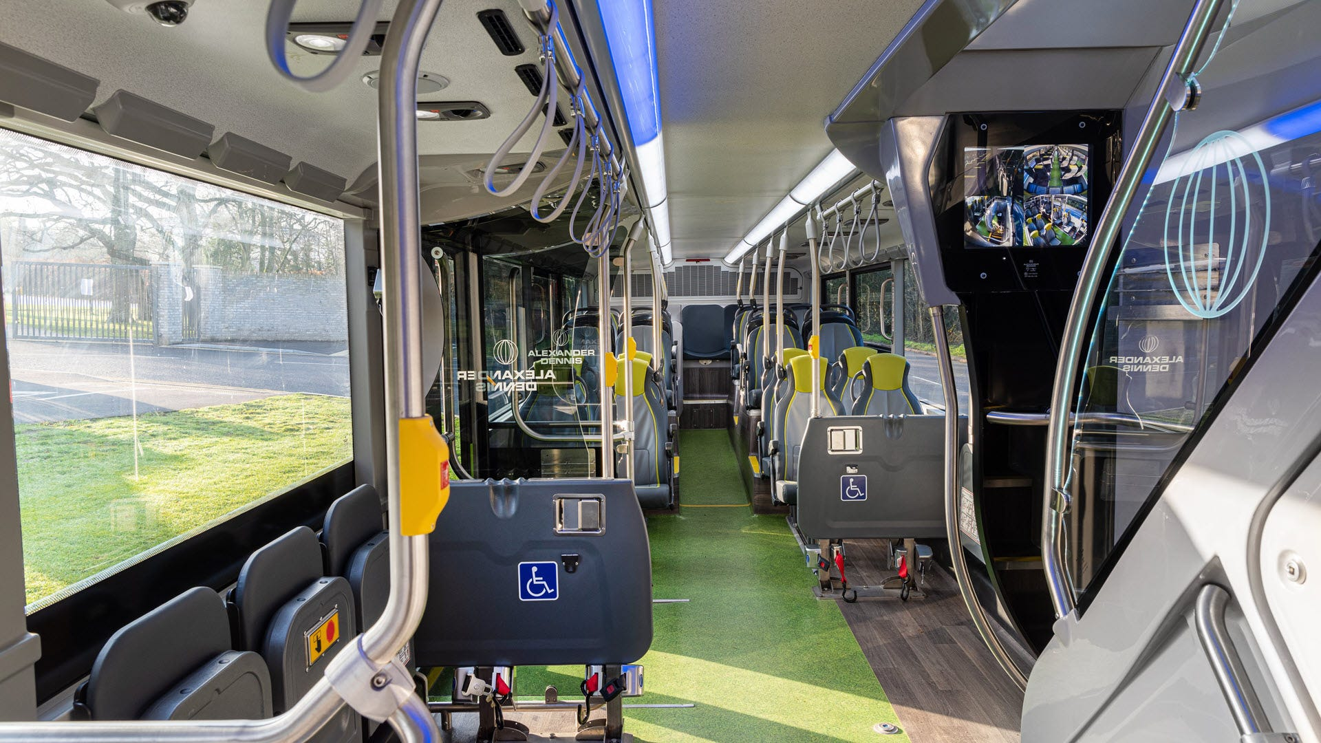 The interior of an electric bus