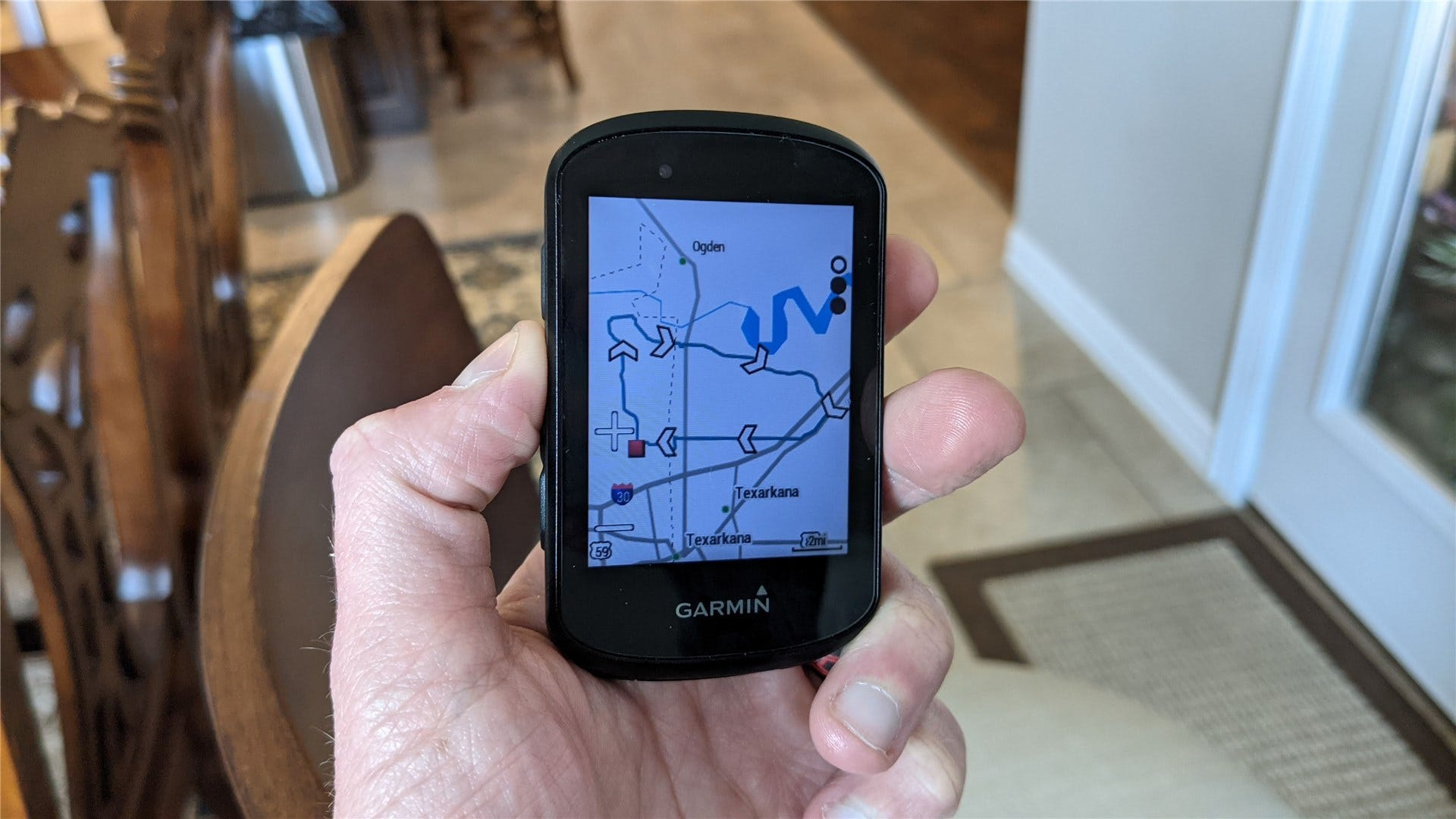 A close up of the new maps feature on a Garmin Edge 530