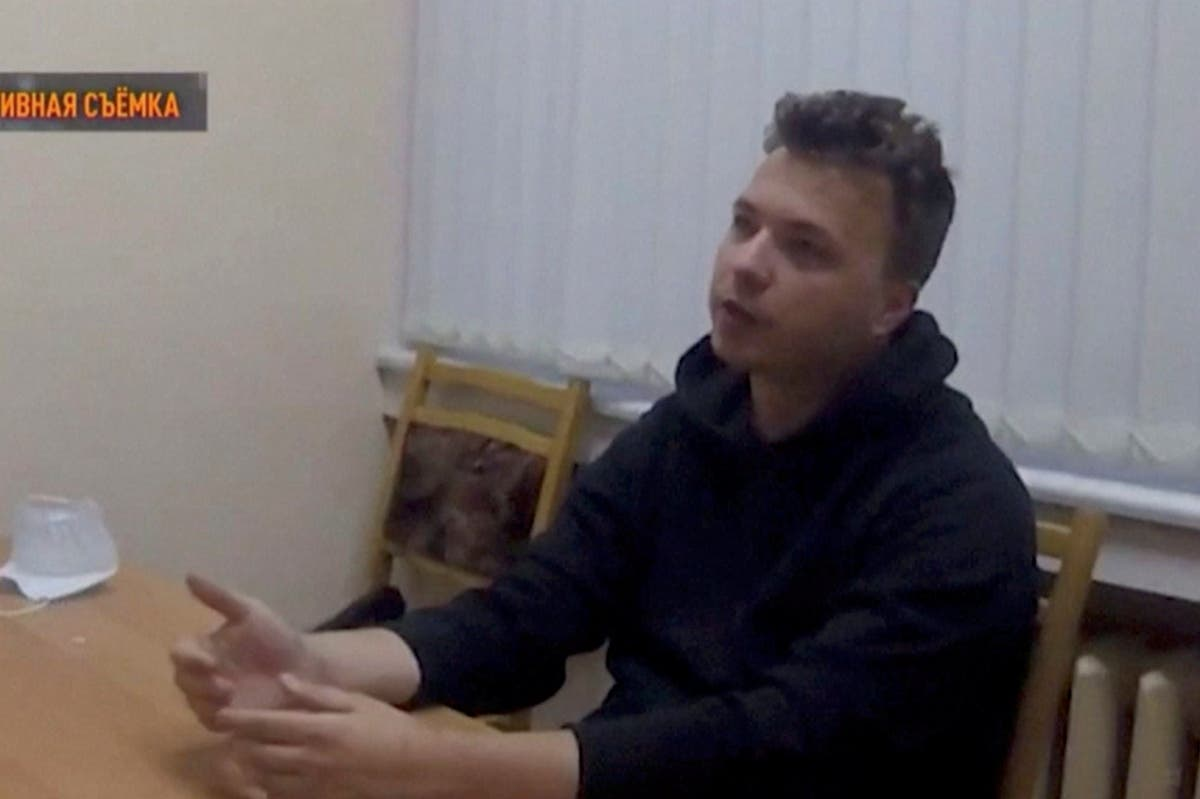 Detained journalist Roman Protasevich appears in tearful interview