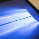 Close-up of Windows 10 screen background on Microsoft Surface