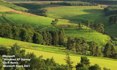 A serene green hilly scene from Microsoft's startup sounds video
