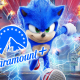 The Paramount+ logo over Sonic the Hedgehog.