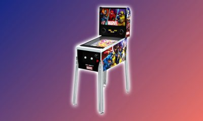 Arcade1Up Marvel Pinball Machine against multi-colored backdrop