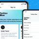 Twitter Blue, Twitter's new subscription service, displayed on two smartphones