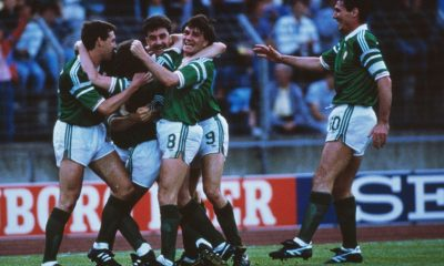 Ronnie Whelan of Republic of Ireland celebrates with team-mates after scoring a superb goal during the UEFA European Championships 1988 Group 2 match between Republic of Ireland and USSR held on June 15, 1988 at the Hannover Arena