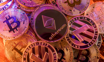 Ethereum and Bitcoin coins along with coins for other digital currencies