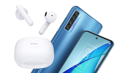 A photo of the TCL S150 wireless earbuds and TCL 20S smartphone.