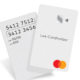 A concept Mastercard without a magnetic stripe. Text and numbers on the card are oriented veritically, like a baseball card.