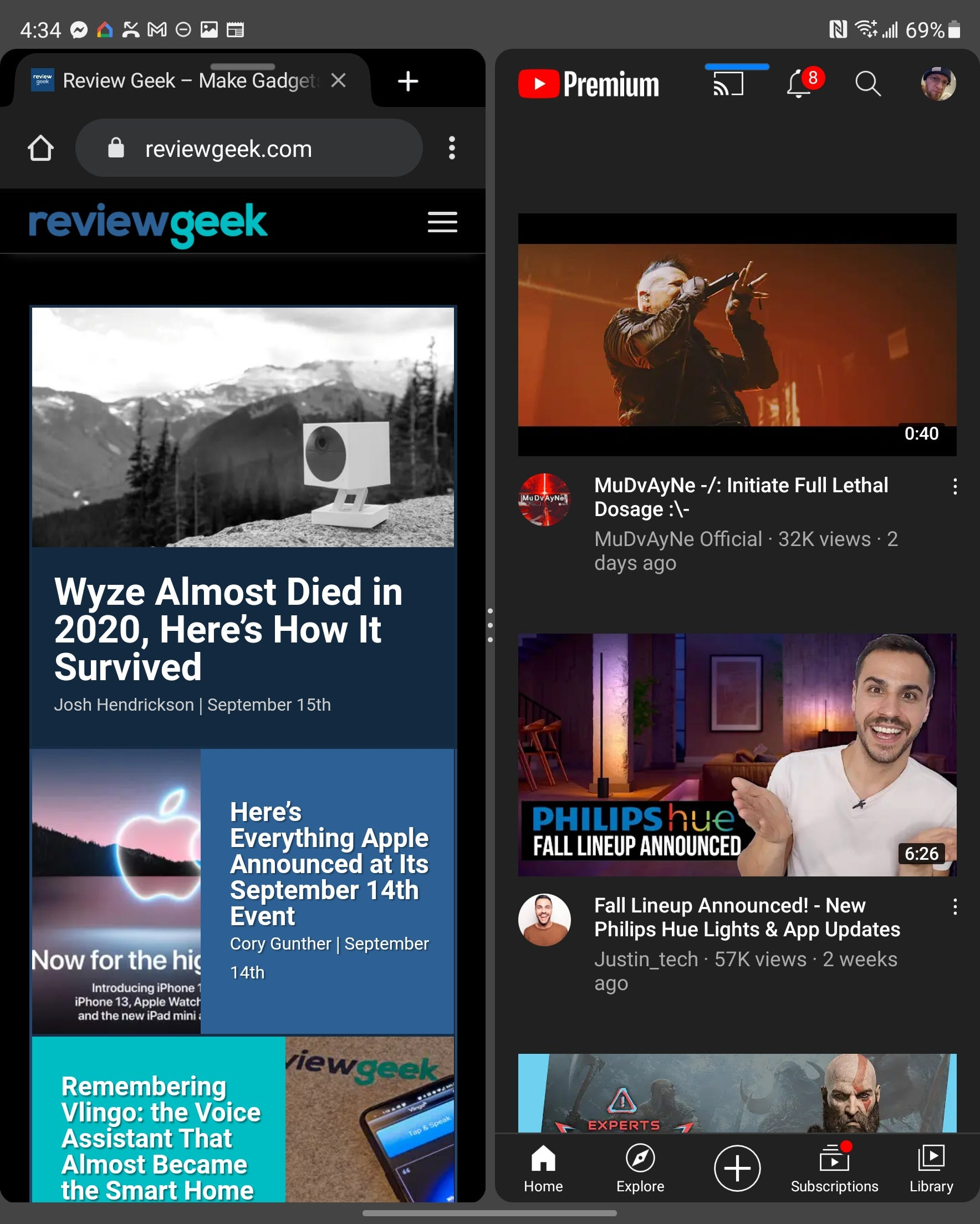 Chrome and YouTube running side by side on the Fold 3's main display