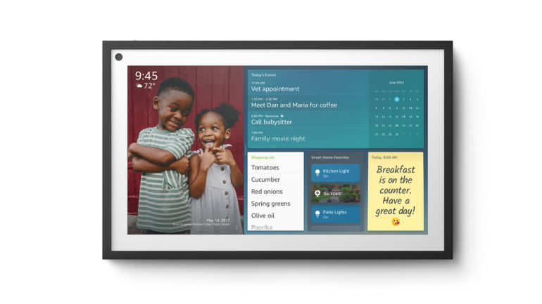 The Echo Show 15 with notes and widgets.