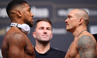 Anthony Joshua and Oleksandr Usyk in tense stare-down at weigh-in before heavyweight title fight