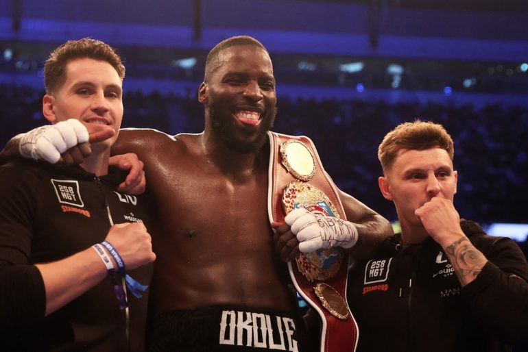 Lawrence Okolie easily defends WBO cruiserweight title but Campbell Hatton lucky to beat Sonni Martinez