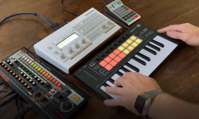 Person using the Retrokits RK-008 sequencer with other electronic music accessories